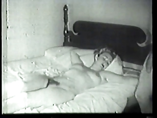 Vintage blonde with hairy pussy fucked in hotel bed