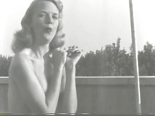 1950s Blonde Plays Outdoors In the Nude