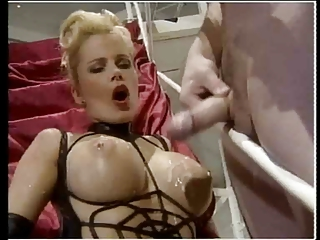 Bunch of guys cumming on hot blonde's tits