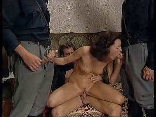 Cute brunette gets some double penetration