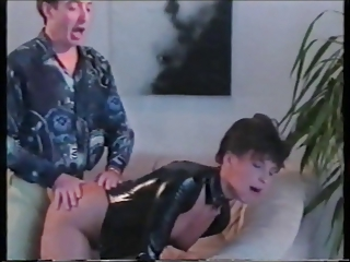 Girl in the leather get his cock